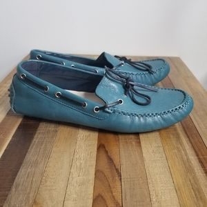 Cole Haan turquoise teal leather driving moccasin